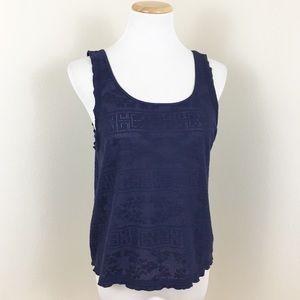 Topshop Navy Blue Crochet Lettuce Hem Tank Top
